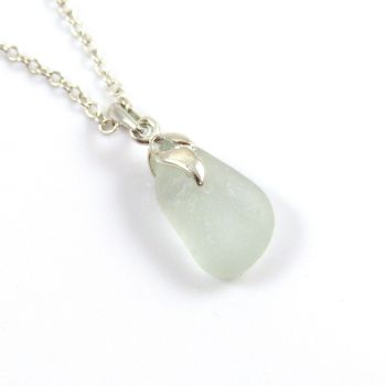 Seafoam Blue Sea Glass And Silver Tendril Pendant Necklace - ALYSON