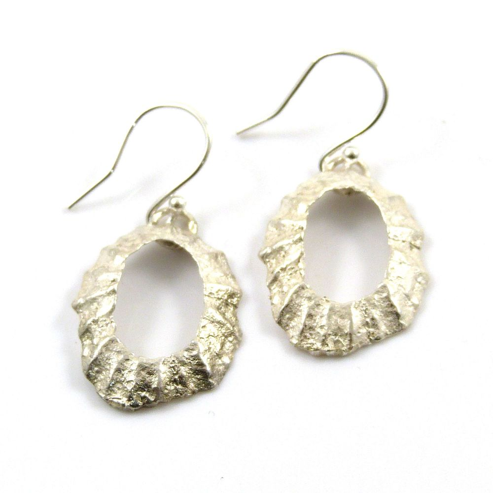 Sterling Silver Limpet Shell with Hole  Drop Earrings