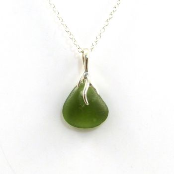 Dark Olive Yellow Sea Glass and Silver Tendril Pendant Necklace - KARLA