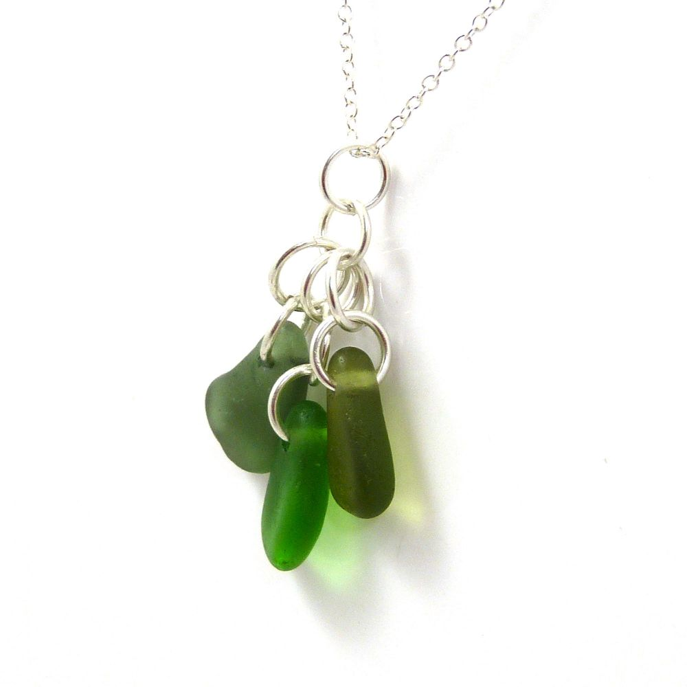 Shades of Green Sea Glass Cluster Necklace CARLY