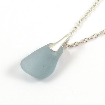 Pale Sky Blue Sea Glass and Silver Necklace LISE
