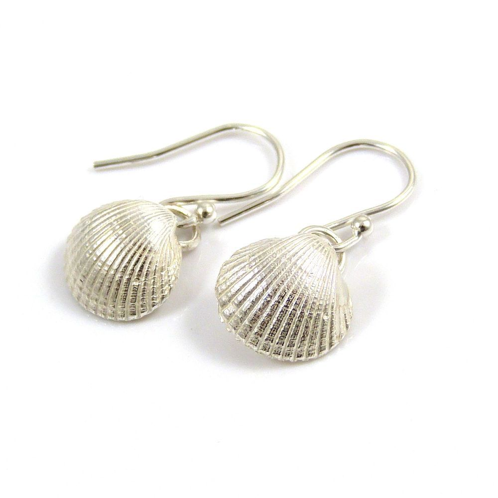 Medium Sterling Silver Cockle Shell Drop Earrings