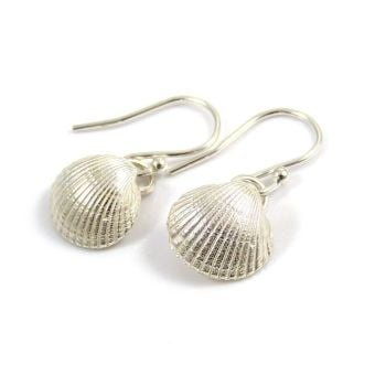 Small Sterling Silver Cockle Shell Drop Earrings