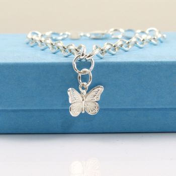Sterling Silver Bracelet with Silver Butterfly Charm