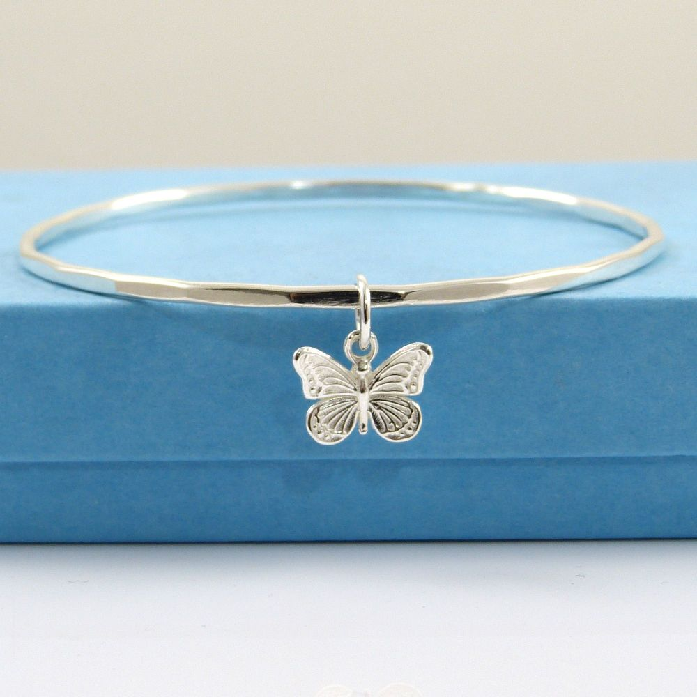 Sterling Silver Hammered Bangle with Butterfly Charm