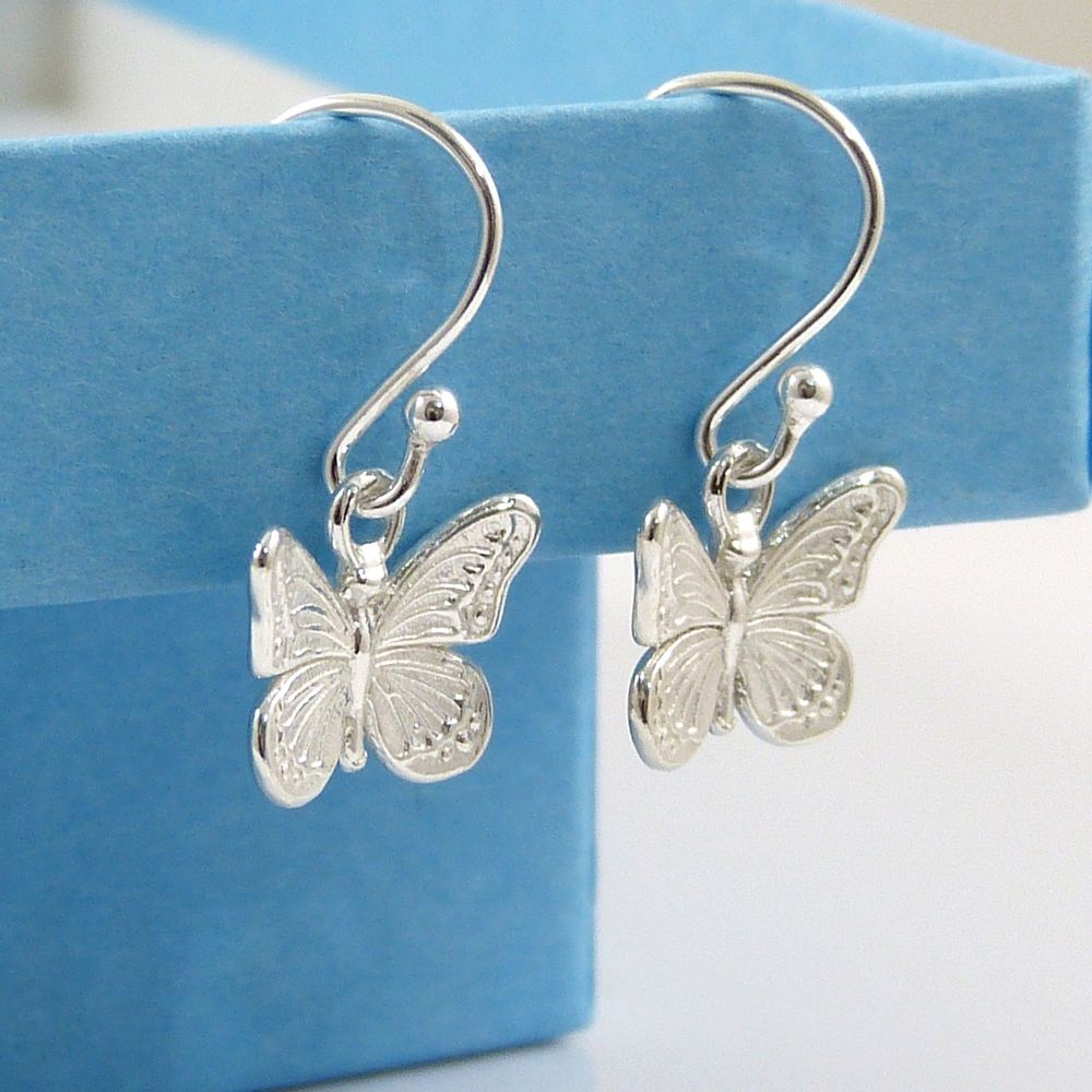 Sterling Silver Butterfly Drop Earrings