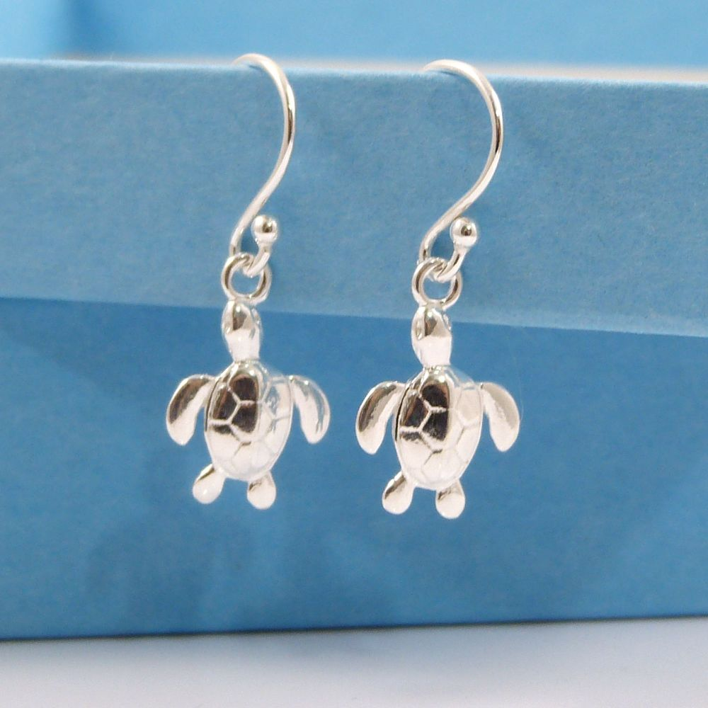 Sterling Silver Turtle Drop Earrings