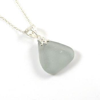 Rare Grey Sea Glass Necklace NATALIE