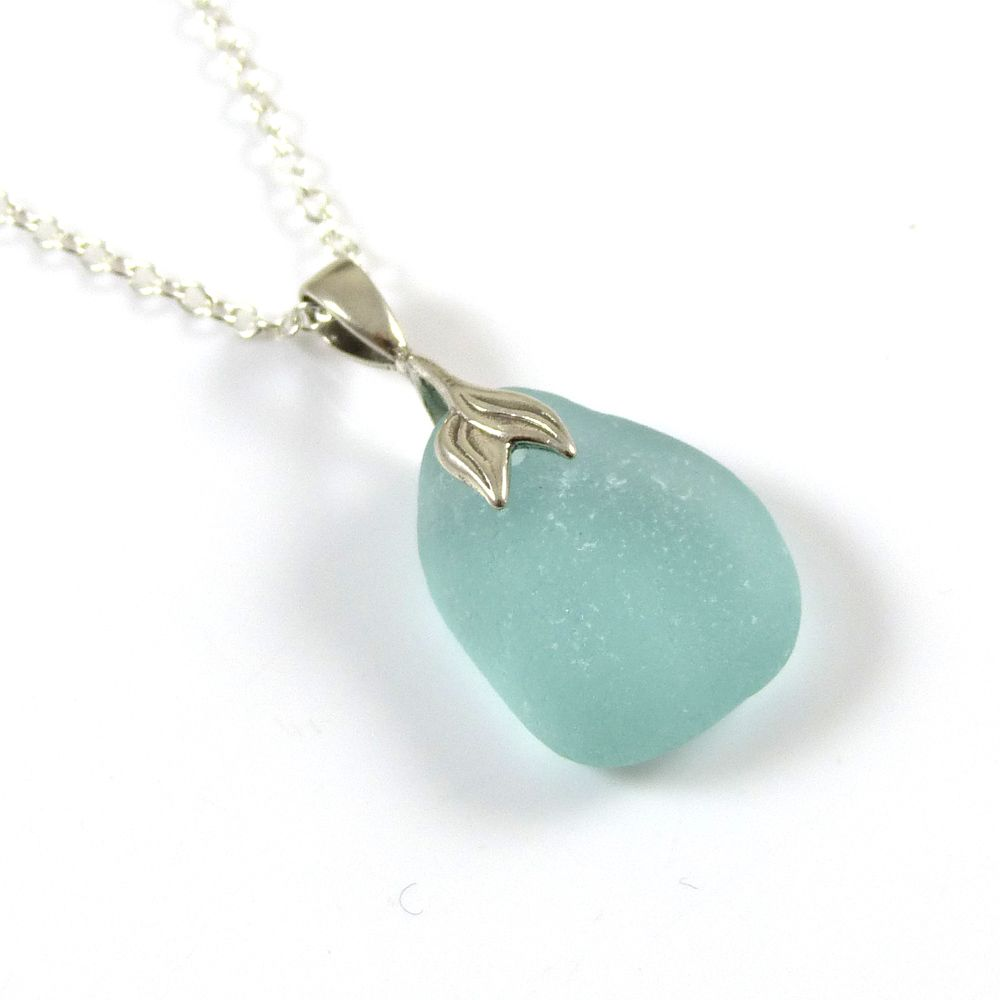 Light Aquamarine Sea Glass Necklace Mermaid SARAH