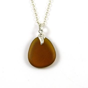 Toffee Brown Sea Glass and Silver Necklace LAYLA
