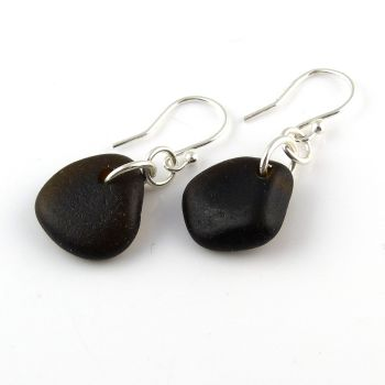 Rare Very Dark Alligator Sea Glass Sterling Silver Drop Earrings