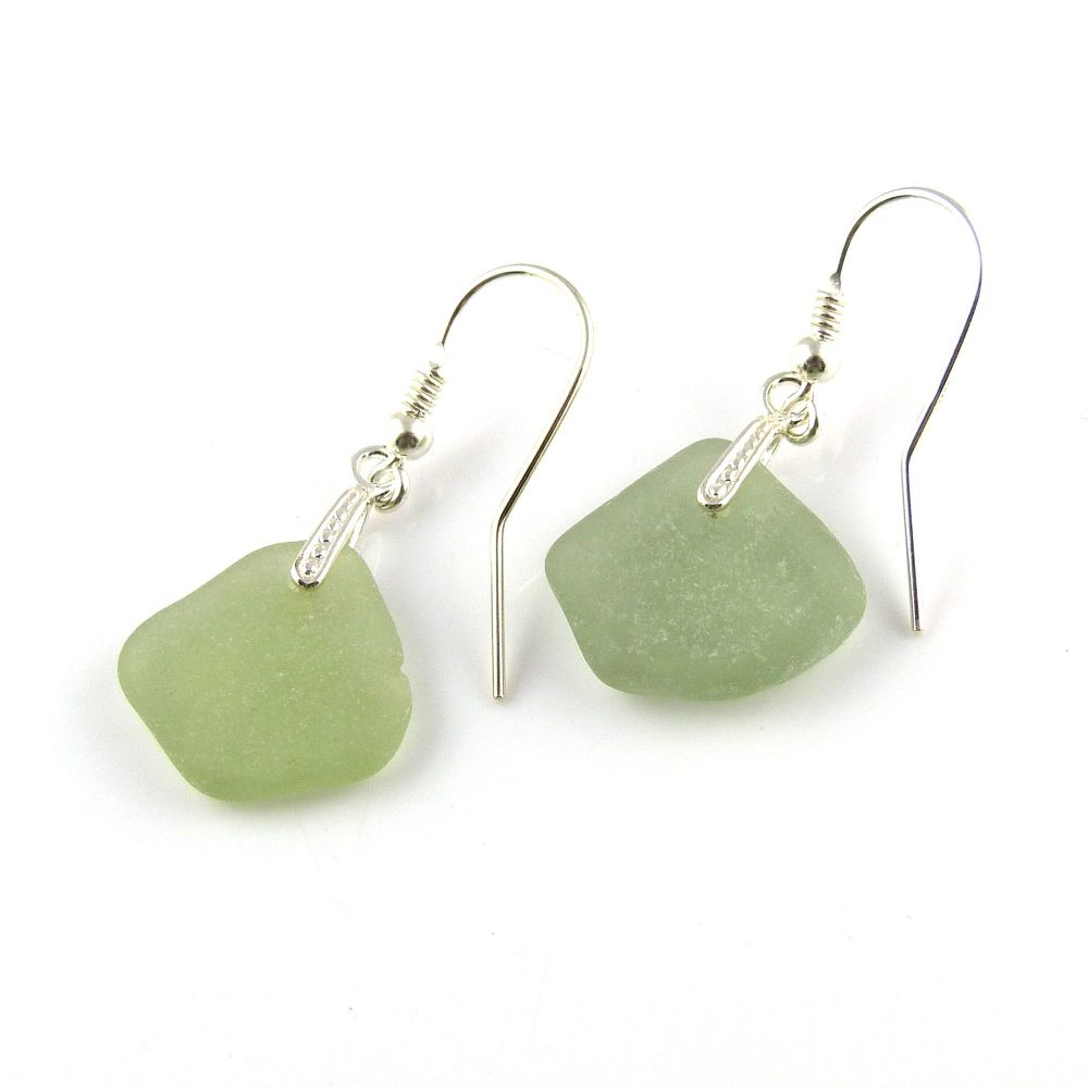 Sage Green Sea Glass and Sterling Silver Earrings