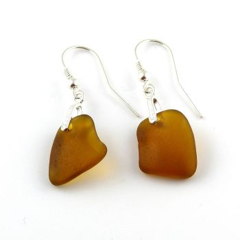 Amber Sea Glass Sterling Silver Drop Earrings
