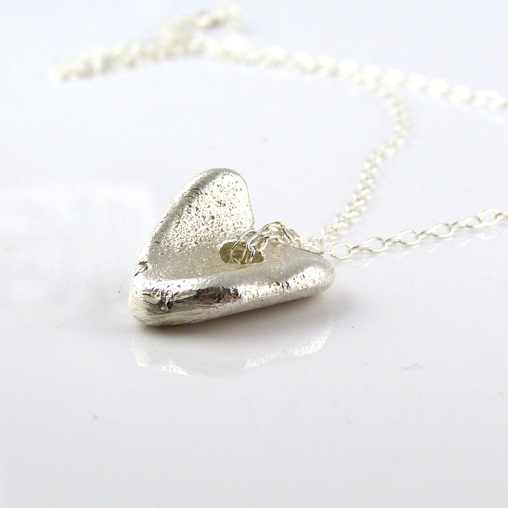 Sterling Silver Cast Organic Heart Pendant Necklace