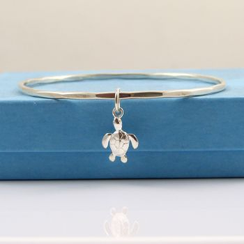 Sterling Silver Hammered Bangle with Turtle Charm