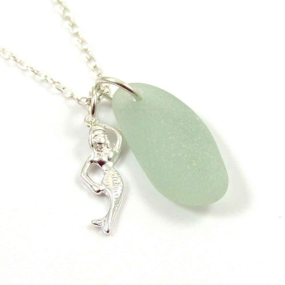 Seafoam Sea Glass and Sterling Silver Mermaid Charm Necklace