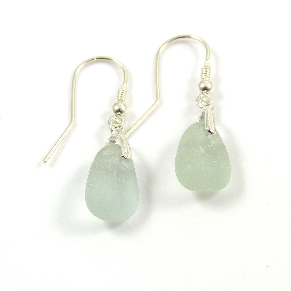 Sea Glass Sterling Silver Earrings e102