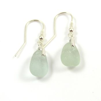 Sea Glass Sterling Silver Earrings, Seafoam Sea Glass, The Strandline