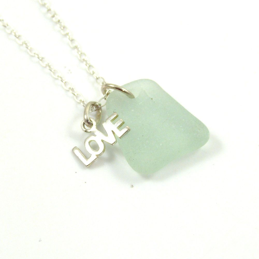 Seafoam Sea Glass Sterling Silver LOVE Charm Necklace c237