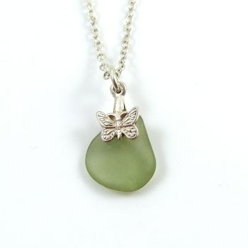 Tiny Deep Seafoam Sea Glass and Silver Necklace MARIPOSA