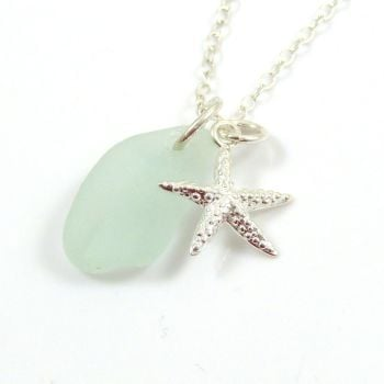 Seafoam Sea Glass and Sterling Silver Starfish Necklace