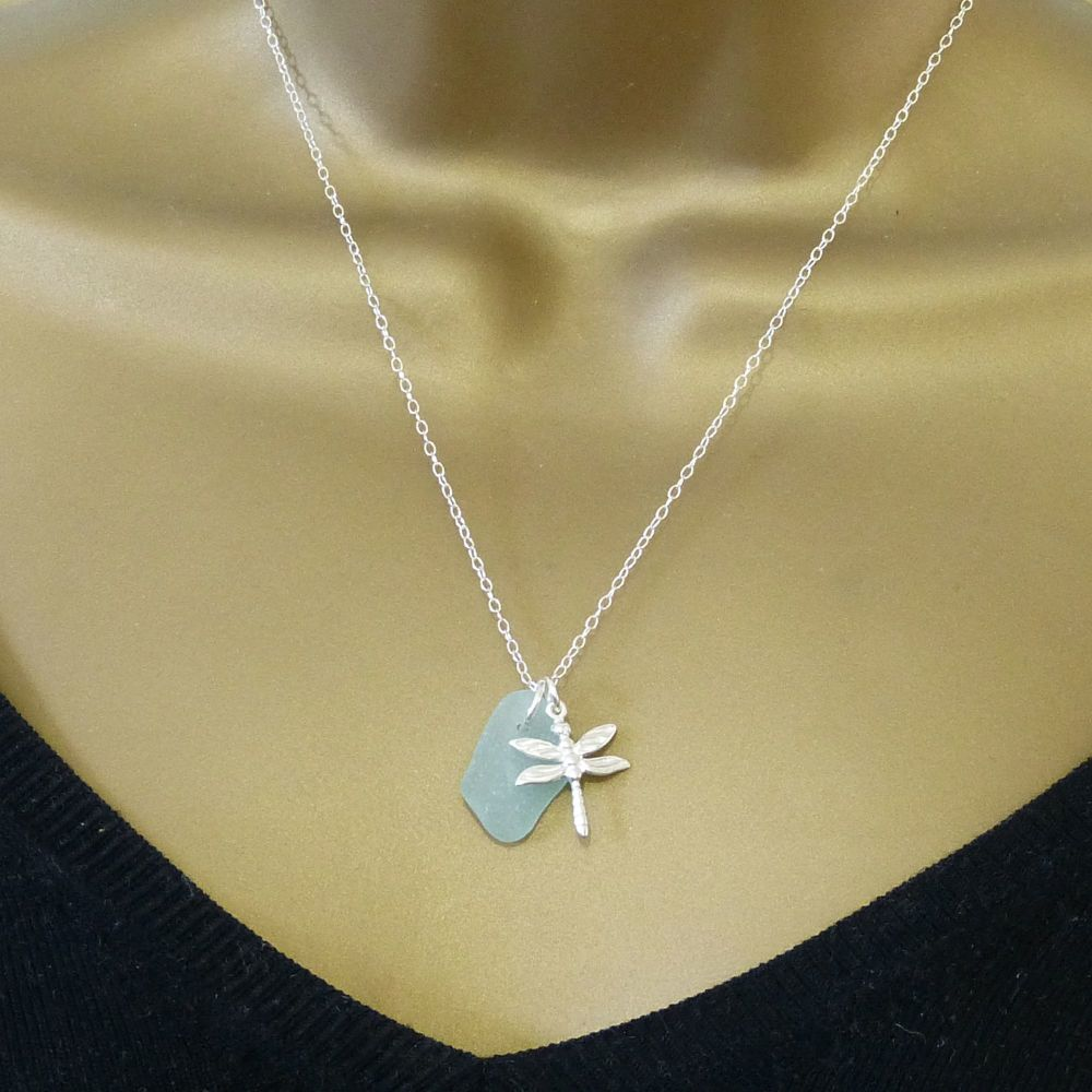 Seafoam Sea Glass and Sterling Silver Dragonfly Necklace