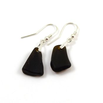 Very Dark Alligator Sea Glass Sterling Silver Drop Earrings
