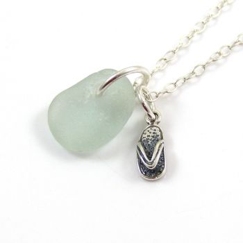Tiny Seafoam Sea Glass and Sterling Silver Flip Flop Necklace