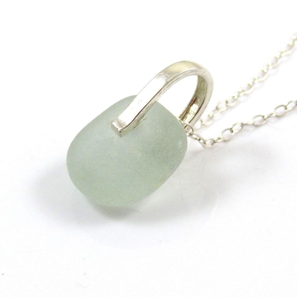 Seafoam Blue Sea Glass and Silver Necklace CAMILE