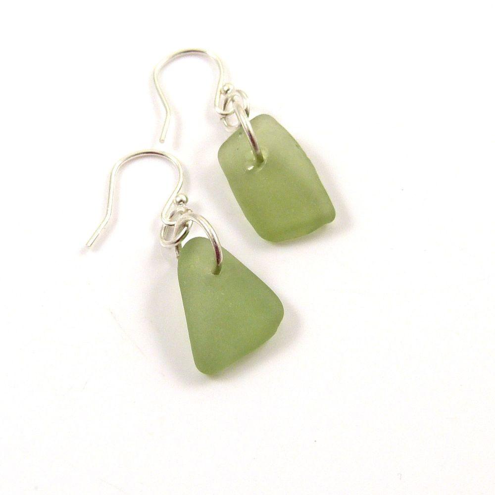 Honeydew Sea Glass Sterling Silver Earrings e113