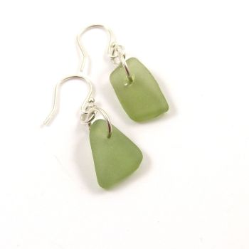 Honeydew Sea Glass Sterling Silver Earrings e113