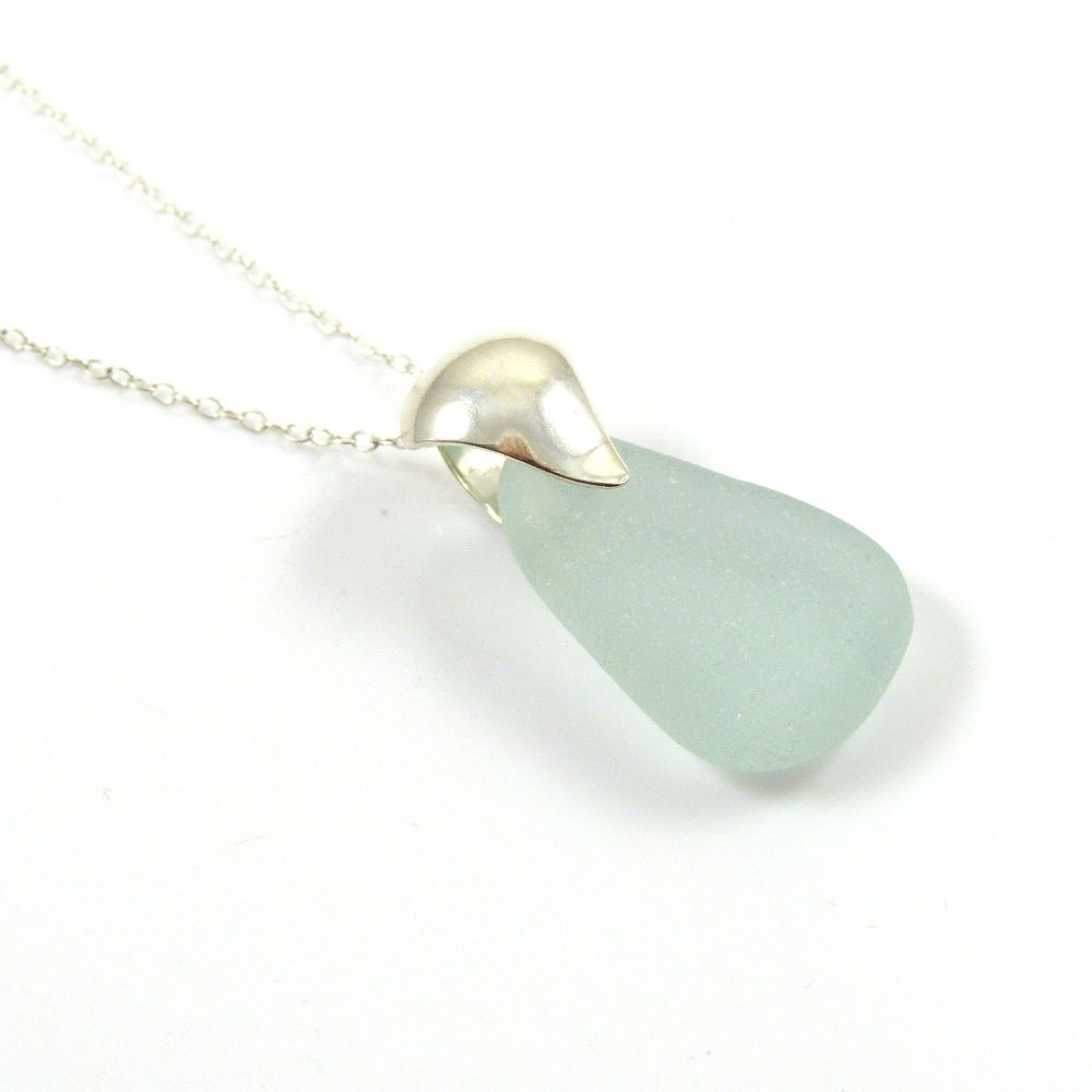 Seafoam Blue Sea Glass and Silver Necklace - REINA