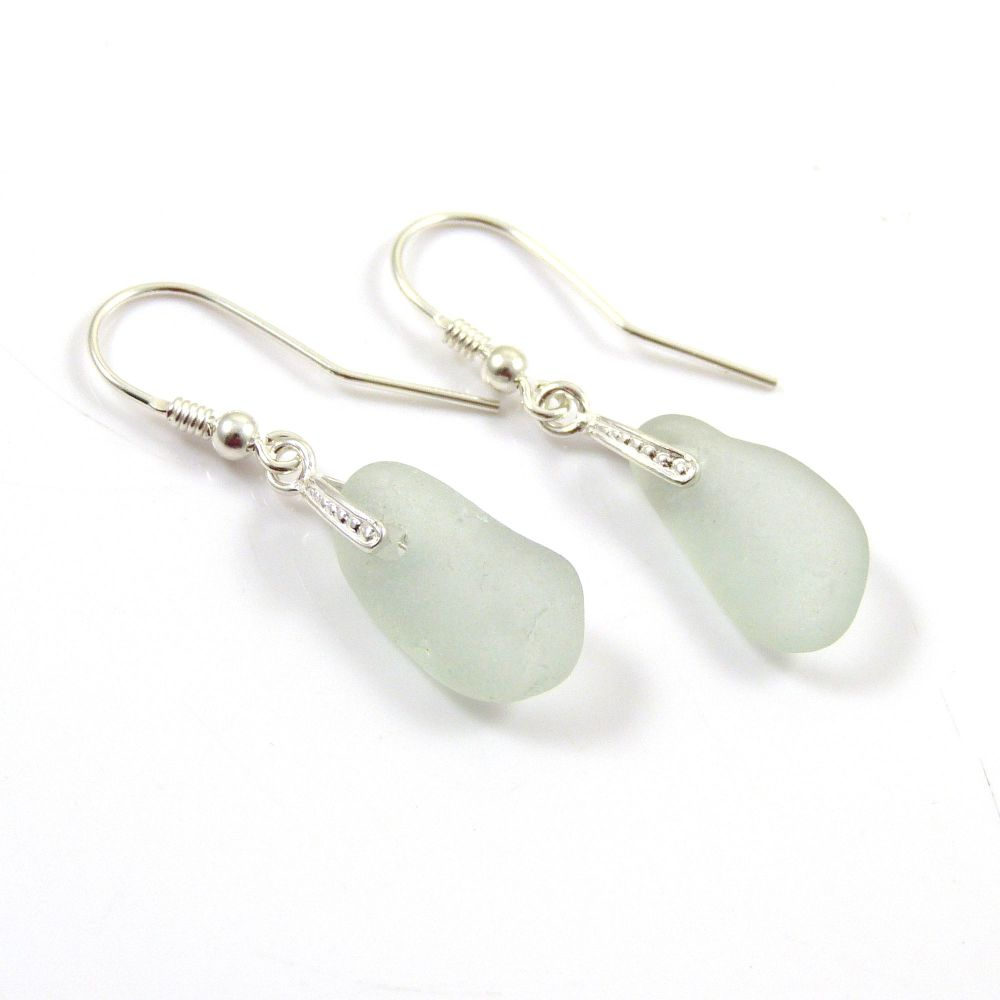 Seaspray Sea Glass Sterling Silver Earrings e114