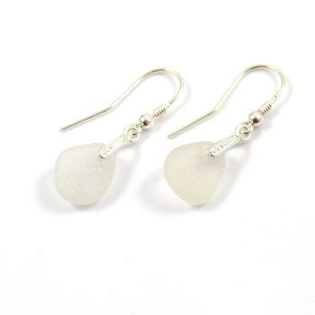 White Sea Glass and Sterling Silver Earrings e115