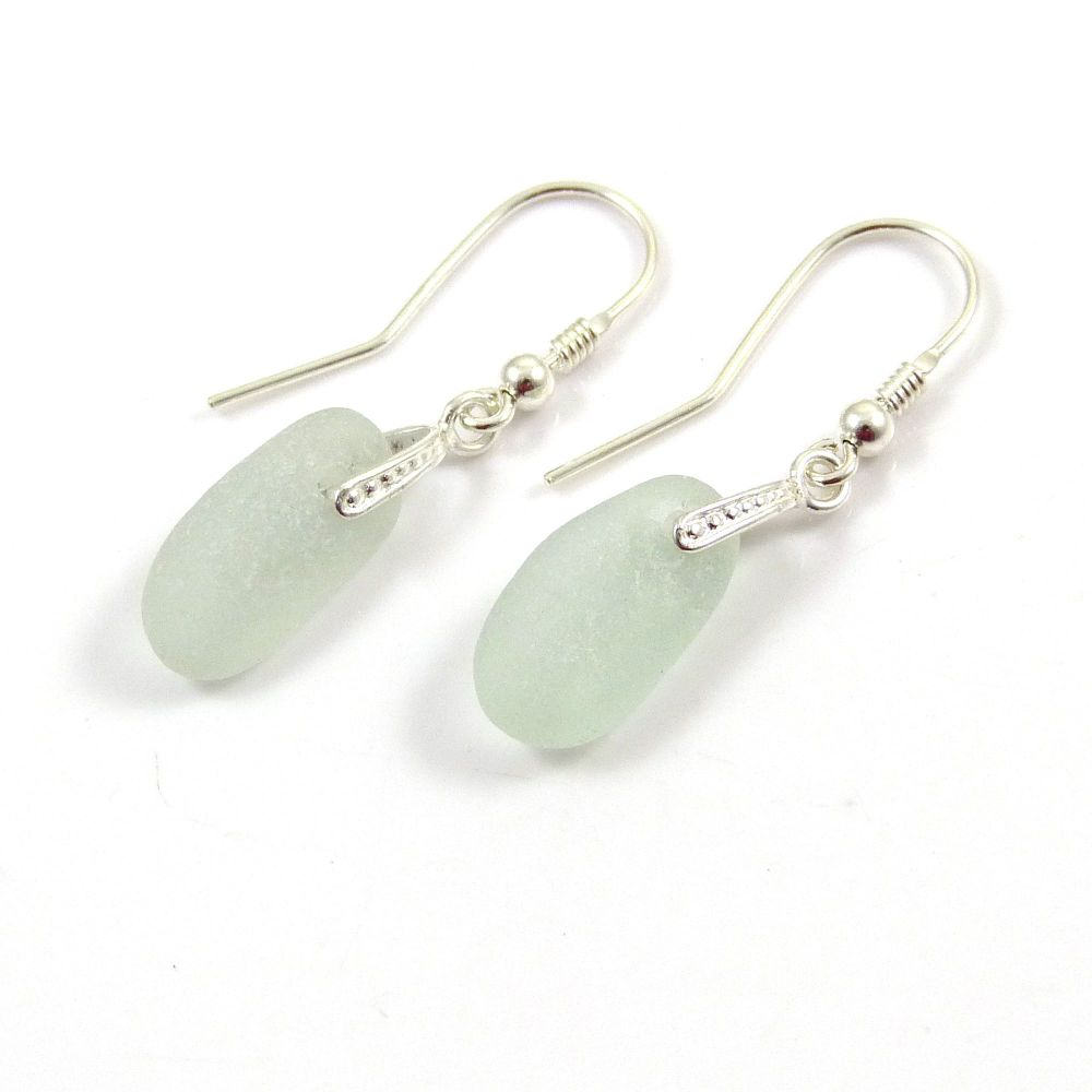 Seaspray Sea Glass Sterling Silver Earrings e116