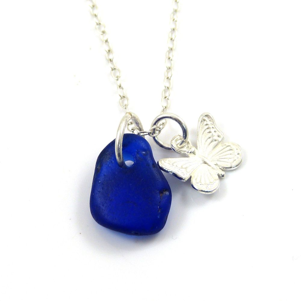 Cobalt Blue Sea Glass and Sterling Silver Butterfly Charm Necklace  ch310