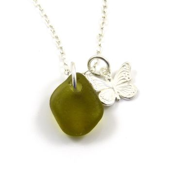 Olive Yellow Sea Glass and Sterling Silver Butterfly Charm Necklace