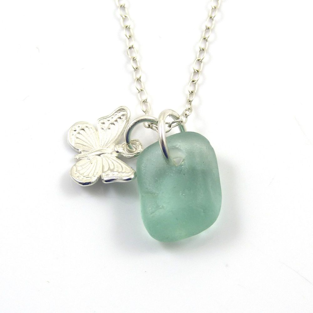 Light Teal Blue Sea Glass and Sterling Silver Butterfly Charm Necklace