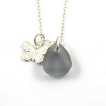 Rare Grey Sea Glass and Sterling Silver Butterfly Charm Necklace