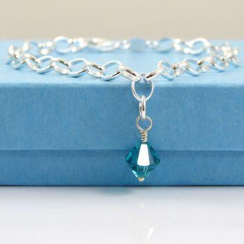 Sterling Silver Bracelet with a Swarovski Crystal Birthstone Charm