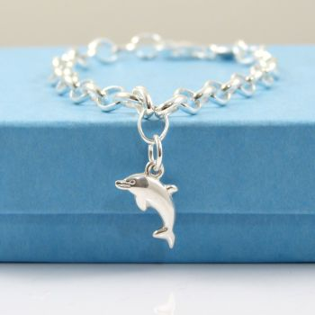 Sterling Silver Bracelet with Silver Dolphin Charm