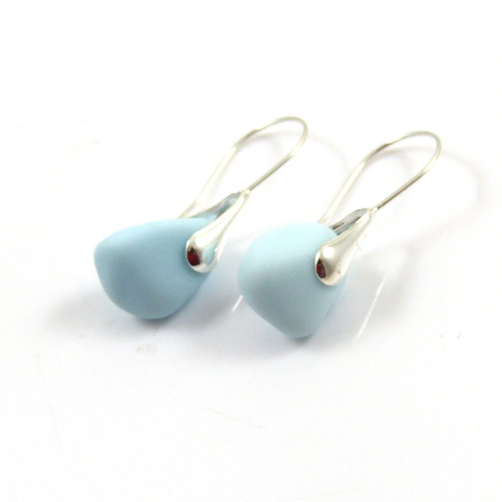 Pastel Blue Milk Sea Glass Earrings e120