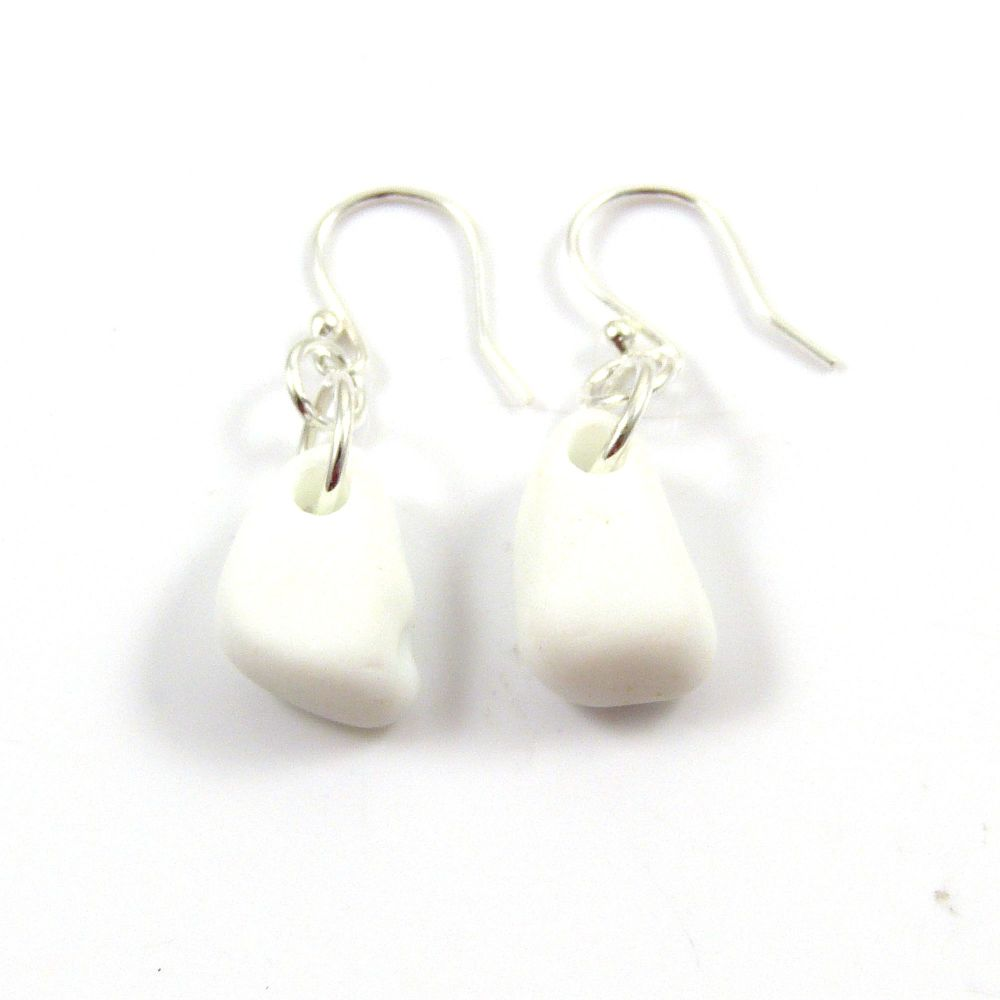 White Milk Sea Glass and Sterling Silver Earrings e121