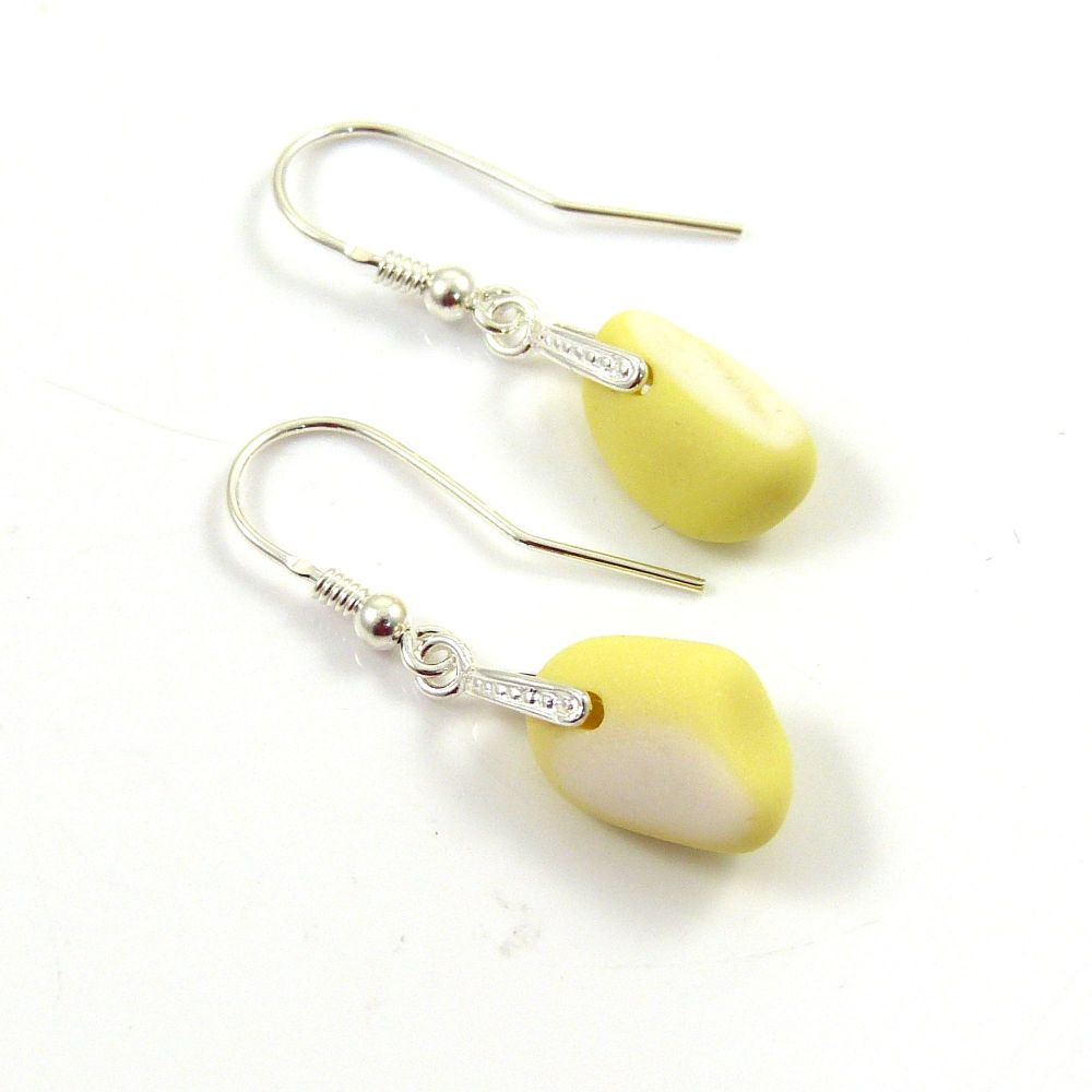 Pastel Yellow and White Milk Sea Glass and Sterling Silver Earrings e119
