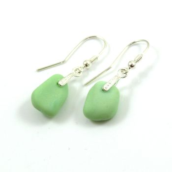 Pastel Green Milk Sea Glass and Sterling Silver Earrings e118