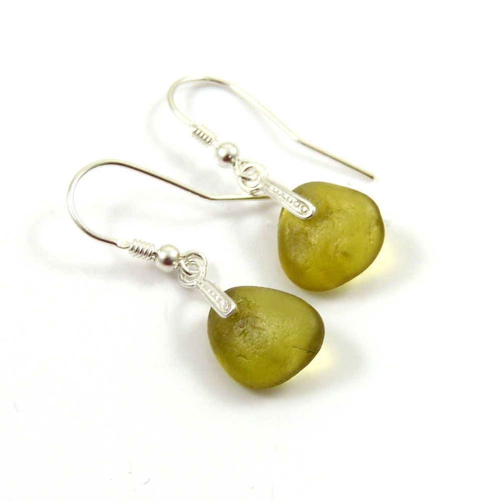 Peridot Sea Glass and Sterling Silver Earrings e122