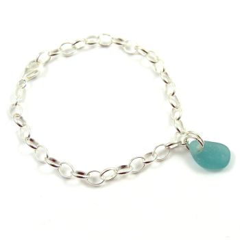 The Strandline  Pale Turquoise Sea Glass and Sterling Silver Bracelet 4mm links