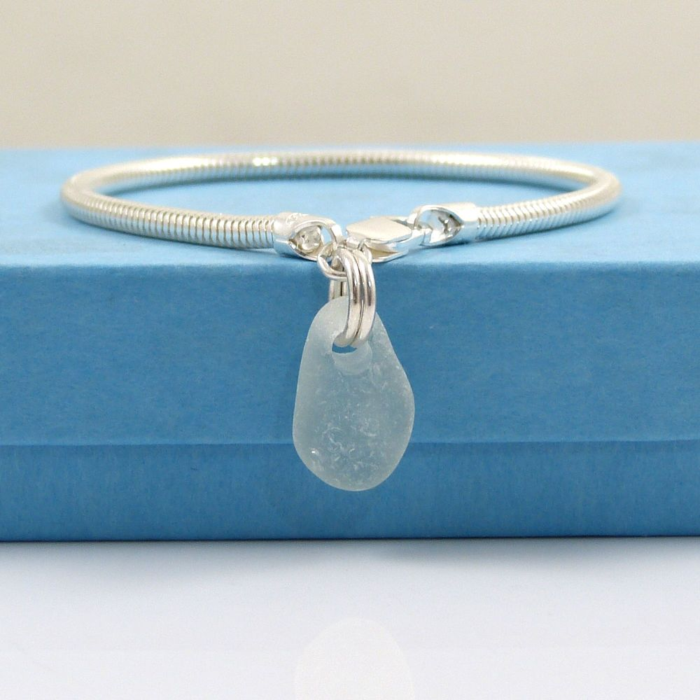 Seaspray Sea Glass and Sterling Silver Snake Bracelet