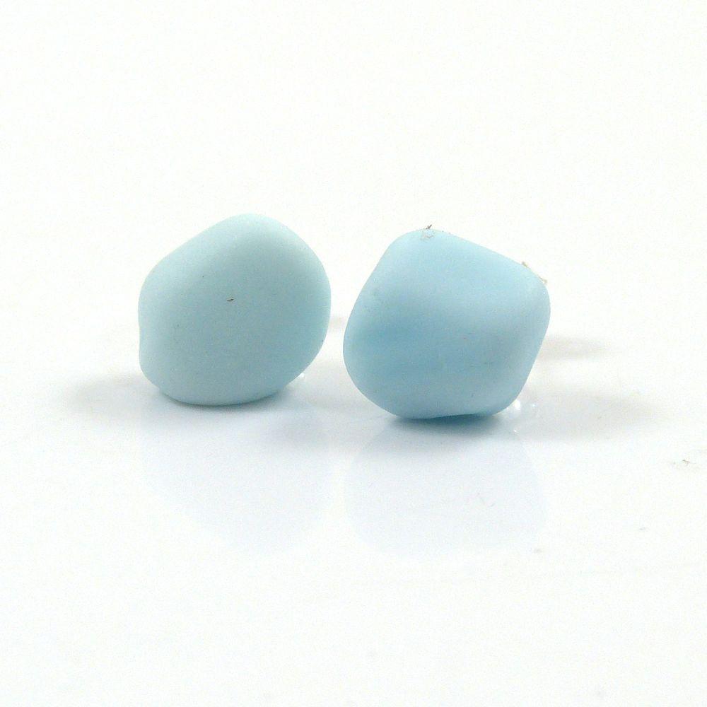 Pastel Blue Milk Sea Glass Stud Earrings
