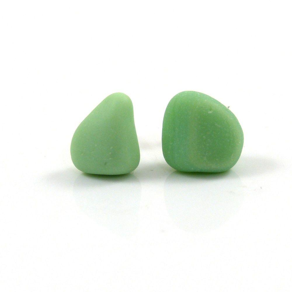 Pastel Green Milk Sea Glass Stud Earrings